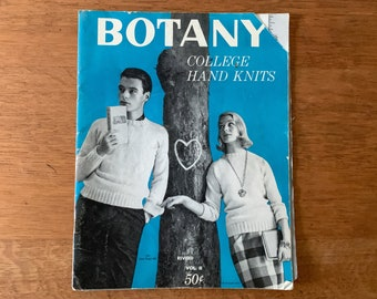 Vintage 1950s knitting pattern book for pullover sweaters, cardigans, vests, scarves, hats, Botany College Hand Knits Vol. II