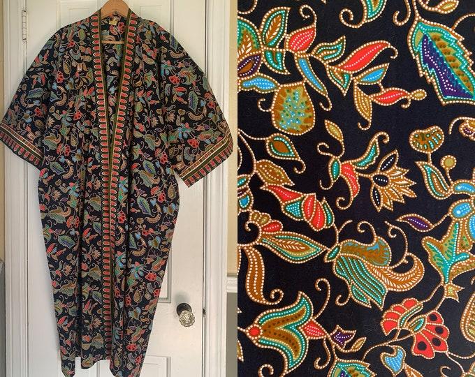 Vintage Batik Arts black Kimono-style cotton robe, boho cotton duster, Size XL