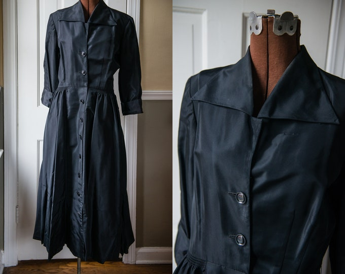 Vintage 1950s black shirtwaist taffeta dress with cuffed 3/4 length sleeves and winged collar | Darcee of Boston | Size M