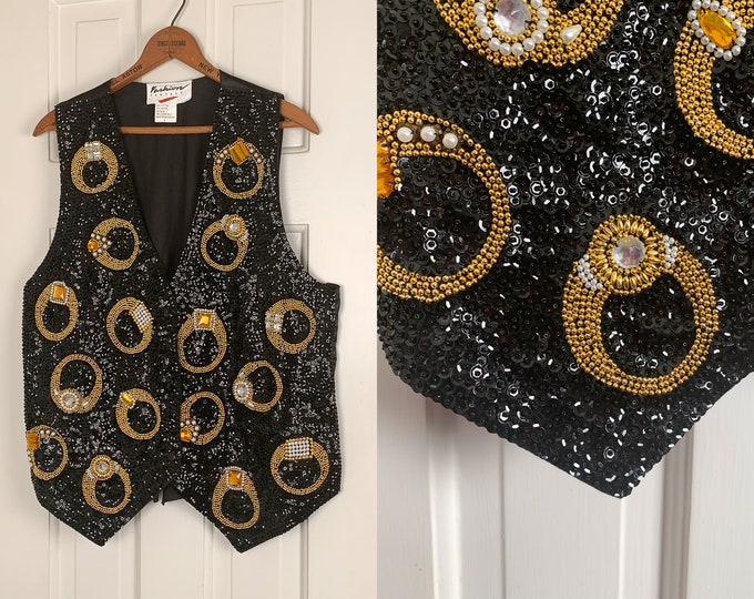 Vintage 1980s black sequin and beaded vest with gold ring motif | festive decorative holiday vest | Size L
