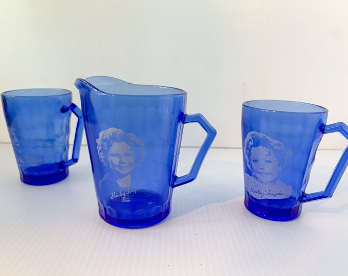 Vintage 3pc 1930s Shirley Temple cobalt blue mug and milk pitcher set