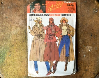 Vintage Butterick sewing pattern for Marie Osmond misses reversible jacket, coat and belt 6269 | Size 8 - 12