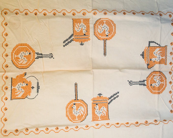 Vintage 1950s tablecloth and napkin set in sunny yellow and orange cross stitch and kitchen rooster motif