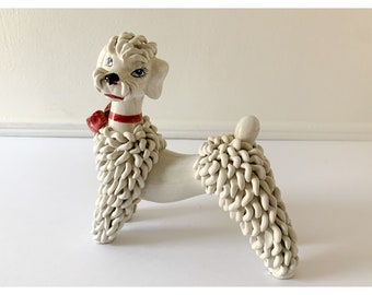 Vintage ceramic spaghetti standing poodle figurine made in ITALY