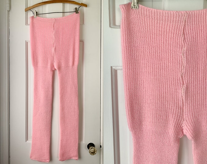 Vintage pink sweater knit leggings or tights, size M