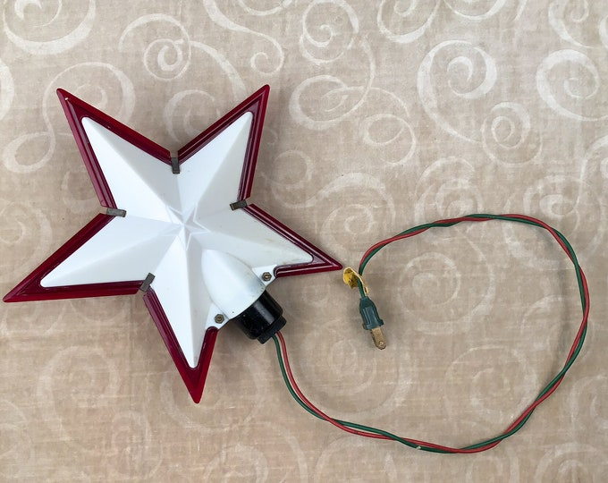 Vintage 1950s lighted white plastic Christmas tree star with red outline | Christmas tree topper | kitschy holiday decorations
