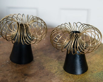 Vintage 1960s mid century modern metal spiral candleholders in gold and black