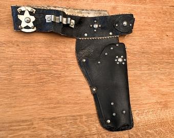 Vintage 1950s black leather toy gun holster, cowboy gun holster, western child's costume
