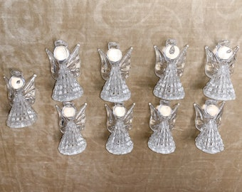 Vintage collection of 9 plastic angel Christmas lightbulb covers | kitschy Christmas ornaments | Christmas twinkle light covers