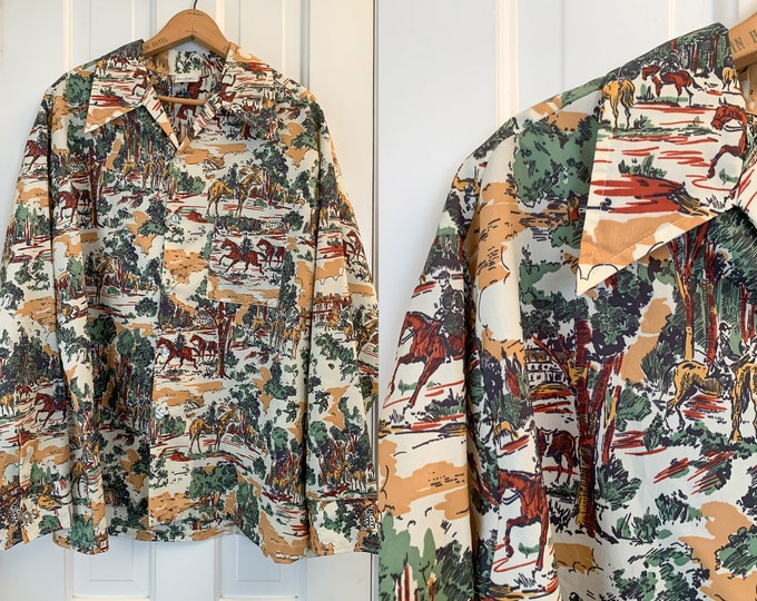 Vintage 70s men's equestrian themed polyester button down shirt, horse print novelty shirt, made by Don Loper California, Size XL