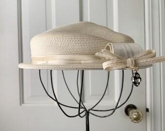 Vintage 1950s cream white pillbox hat with decorative rhinestone dangle | Phipps Tailored Hats