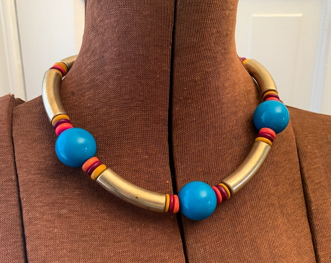 Vintage 1980s beaded necklace with metal plastic and wooden beads, 80s choker, bold colorful jewelry