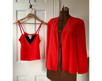 Vintage 70s 2pc red silk tank top camisole chemise and jacket Sz S/M