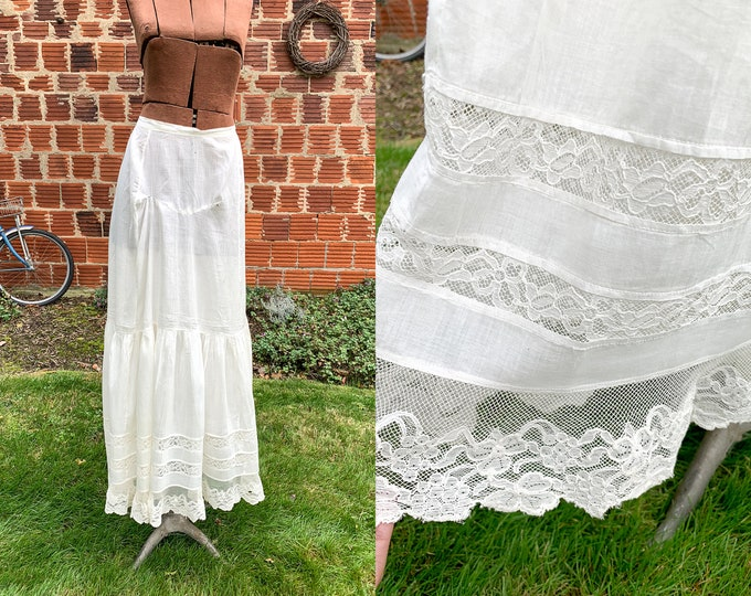 Authentic Victorian white cotton and lace skirt or petticoat | white vintage underskirt | wedding slip | Size XS
