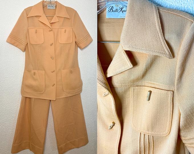 Vintage 70s 2pc peach knit pants suit, by Butte Knit, Size M