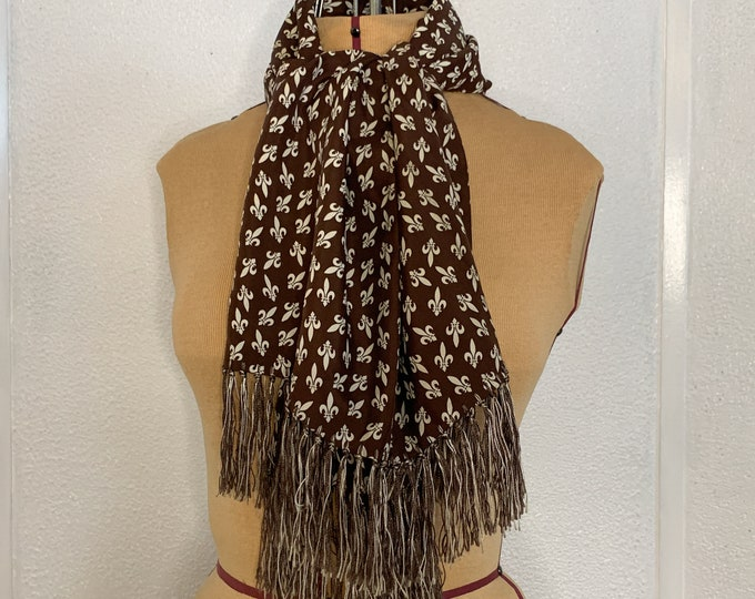 Vintage 50s 60s brown and cream white fringed scarf with fleur de lis print, formal scarf, men's scarf