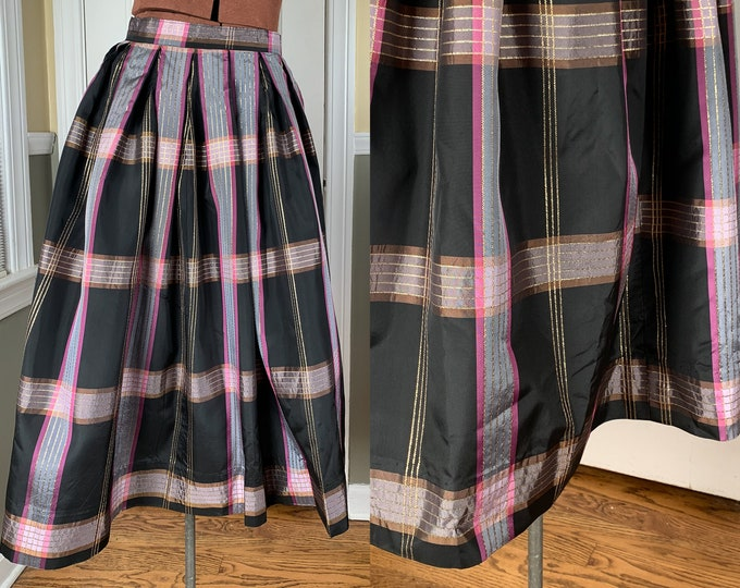 Vintage 1960s handmade plaid pleated taffeta skirt | holiday skirt | special occasion skirt | Size XS
