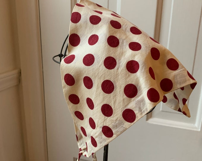 Vintage 60s white and burgundy red polka dot head scarf or kerchief