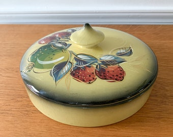 Vintage Sascha B hand painted covered dish with strawberry and apple design, MCM ceramic dish