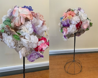 Vintage 1950s turban style hat covered with brightly colored fabric flowers, 50s statement hat, garden party hat, Size L