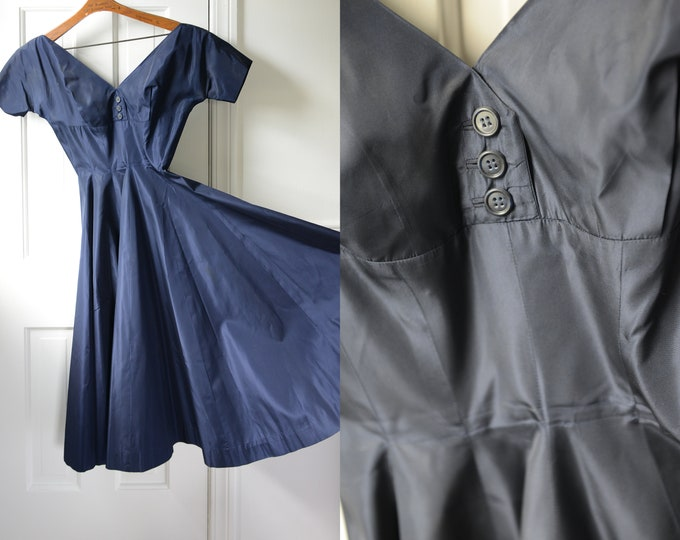 Vintage 1950s taffeta navy blue party dress with full skirt, Anne Fogarty, Size XS