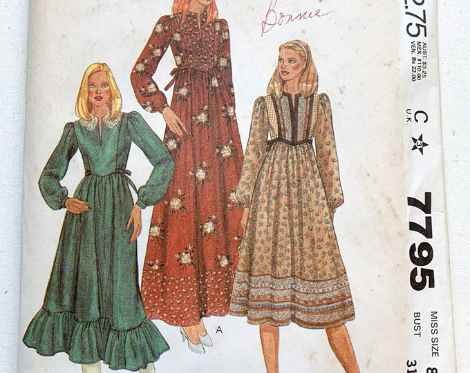 Vintage 1981 McCall's sewing pattern 7795 for misses high-waisted bodice front boho dress   80s festival dress pattern   Size 8