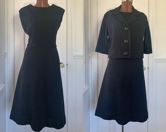 Vintage 1950s 2pc black wool knit dress suit with cropped jacket, mid century career ware, made by Kimberly, Size XS