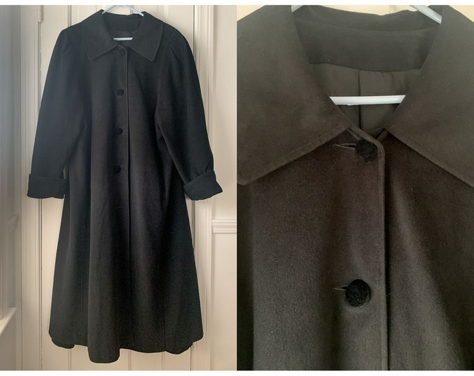 Vintage 80s 90s Marilyn Wallace black velvet-y coat with puff sleeves 1X/2X