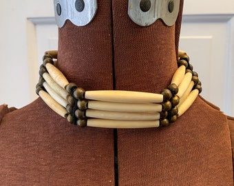 Vintage 1980s bone choker necklace with brass beads and leather, 80s choker, tribal jewelry, boho necklace