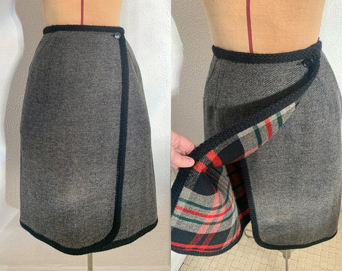 Vintage 60s reversible wool wrap skirt with red plaid and herringbone fabrics, Sz XS/S