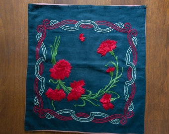 "Vintage embroidered pillow cover with red carnation and ribbon design | 18"" x 18"""