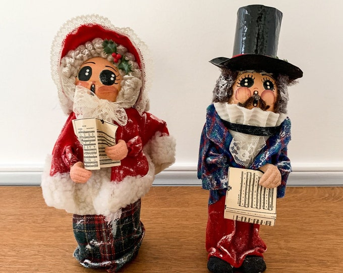 Vintage 60s 70s hand-crafted Christmas caroler dolls or figurines, MCM Christmas, big eyes