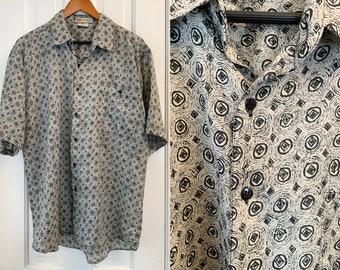 Vintage silk men's short sleeve button down shirt in gray and black mod print, Montage Pour Homme, Size L