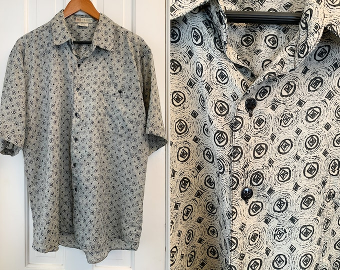 Vintage silk men's short sleeve button down shirt in gray and black mod print, Montage Pour Homme, Size L