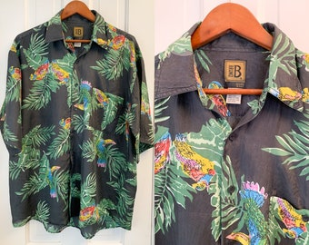 Vintage silk men's short sleeve button down shirt in mod tropical print, silk Hawaiian shirt, Bruno, designed in Italy, Size L