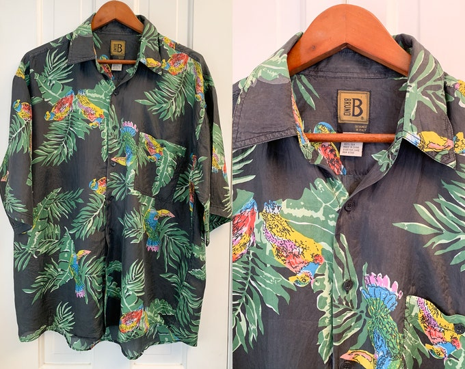 Vintage silk men's short sleeve button down shirt in mod tropical print, silk Hawaiian shirt, Bruno, designed in Italy, Size L