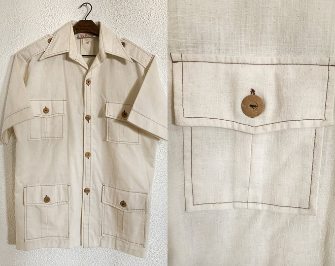 VTG men's short sleeve button down shirt in cream colored with pockets, Sears Hawaiian Fashions, Sz M