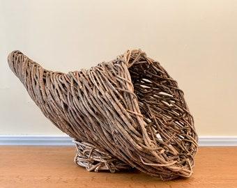 Unique rustic cornucopia twig basket, woven Thanksgiving basket, basket home decor