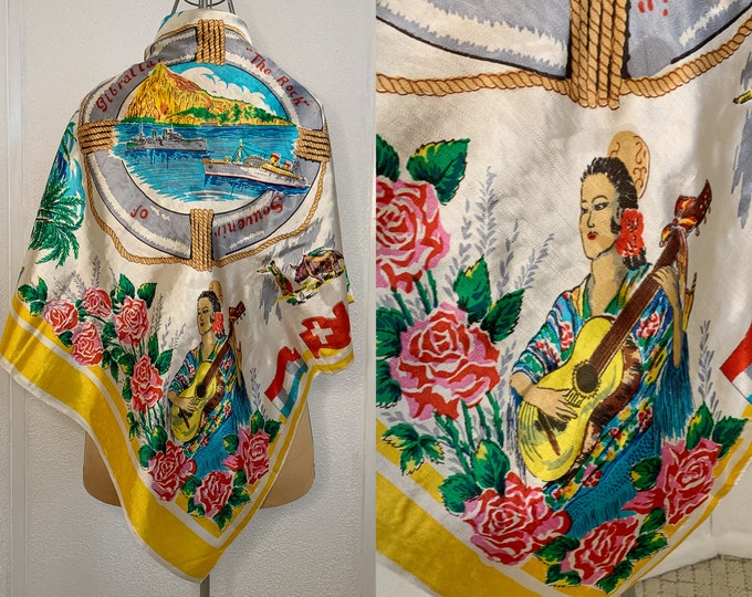 "Vintage silk-y novelty travel souvenir scarf from The Rock of Gibraltar, 36"" x 31"""