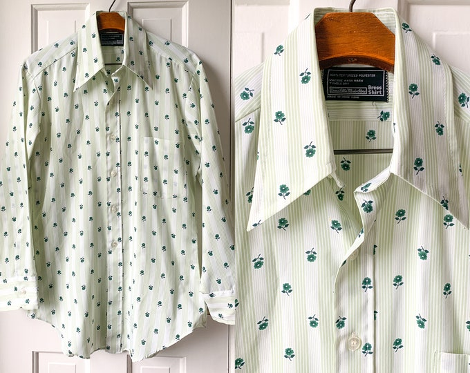 Vintage 1970s men's green and white striped and floral poly button down shirt, mod dress shirt, The Men's Store Sears, Size M