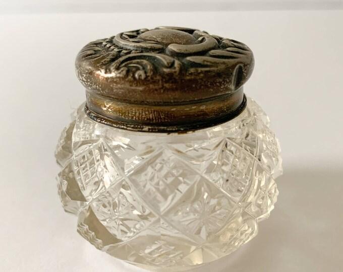 Small antique glass dresser jar with decorative sterling lid, English Hallmarks Birmingham
