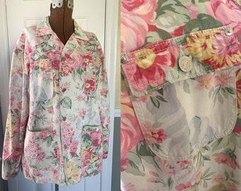 Vintage Ralph Lauren floral print chore jacket, utility jacket, workwear, Size M
