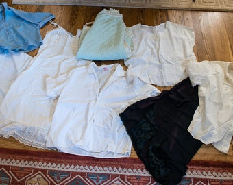 Lot of 8 vintage 1950s IMPERFECT & FLAWED blouses, slips and bathrobe | up-cycling sewing project | costume | Size L