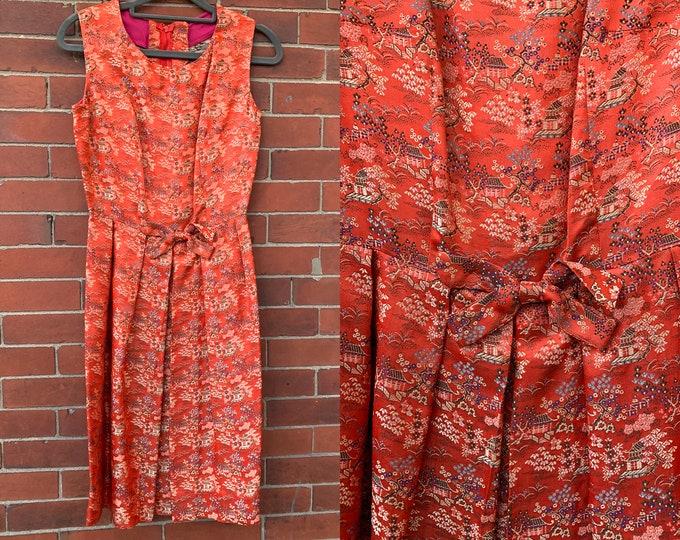 Vintage red Asian print sleeveless dress Sz XS, Broken Zipper repair required!