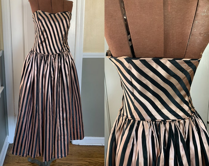 Vintage 1950s strapless pink and black striped cocktail dress | 50s party dress | **NEEDS WORK** | Size XS