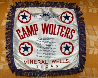 "Vintage 1940s Camp Wolters, Mineral Wells, Texas flocked sister pillow sham | military souvenir pillow | US Army souvenir | 16"" x 16"""