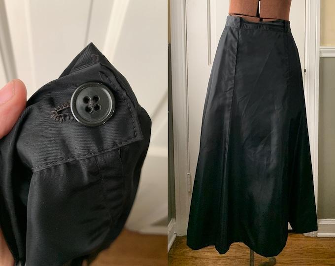 Vintage 1950s handmade black taffeta a-line skirt   Size L