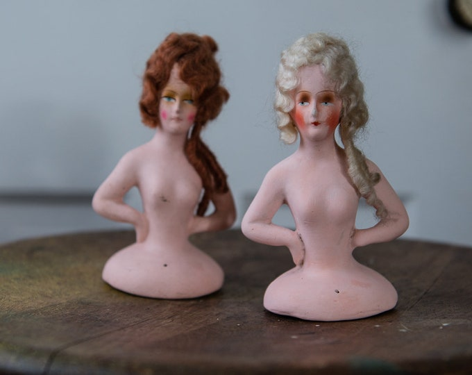 Pair of vintage 1920s/1930s German half dolls with hand painted faces and natural hair | Edwardian Victorian