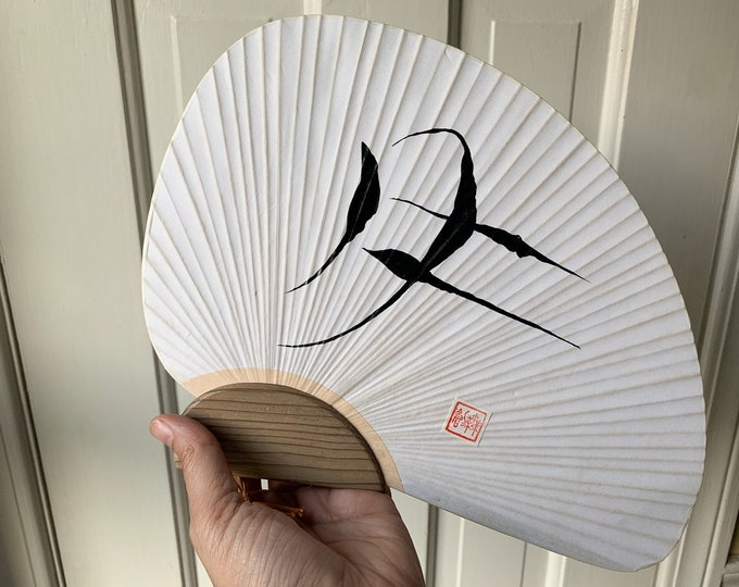 Vintage hand painted Asian hand fan made from paper