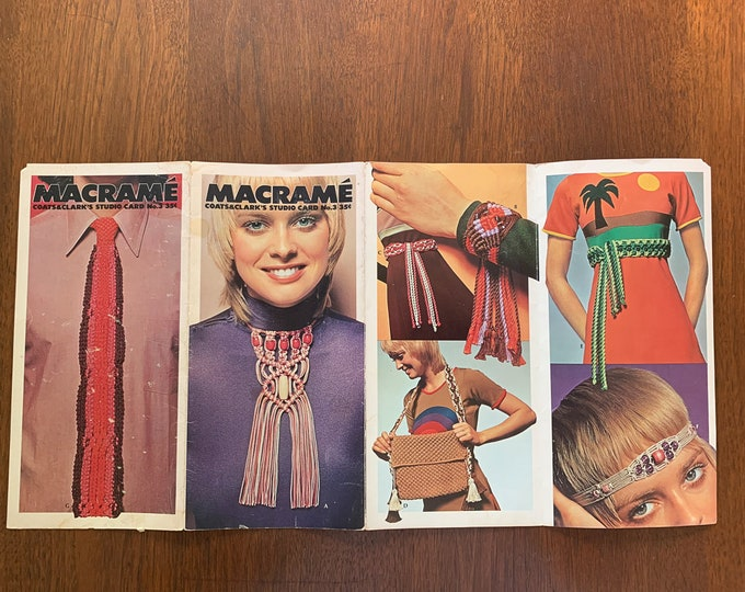Vintage 1970s macrame pattern book for necklace, bracelet, belt, tote bag, headband, choker, necktie | Coats & Clark's Studio Card No. 3